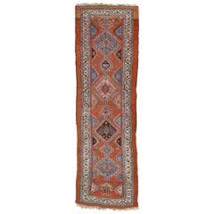 Antique Persian Kurdish Hallway Runner with Tribal Style