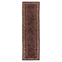 Antique Persian Kurdish Handmade Allover Geometric Wool Runner