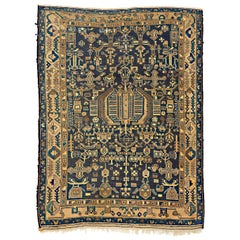 Antique Persian Kurdish Rug with Brown and Blue Geometric Details