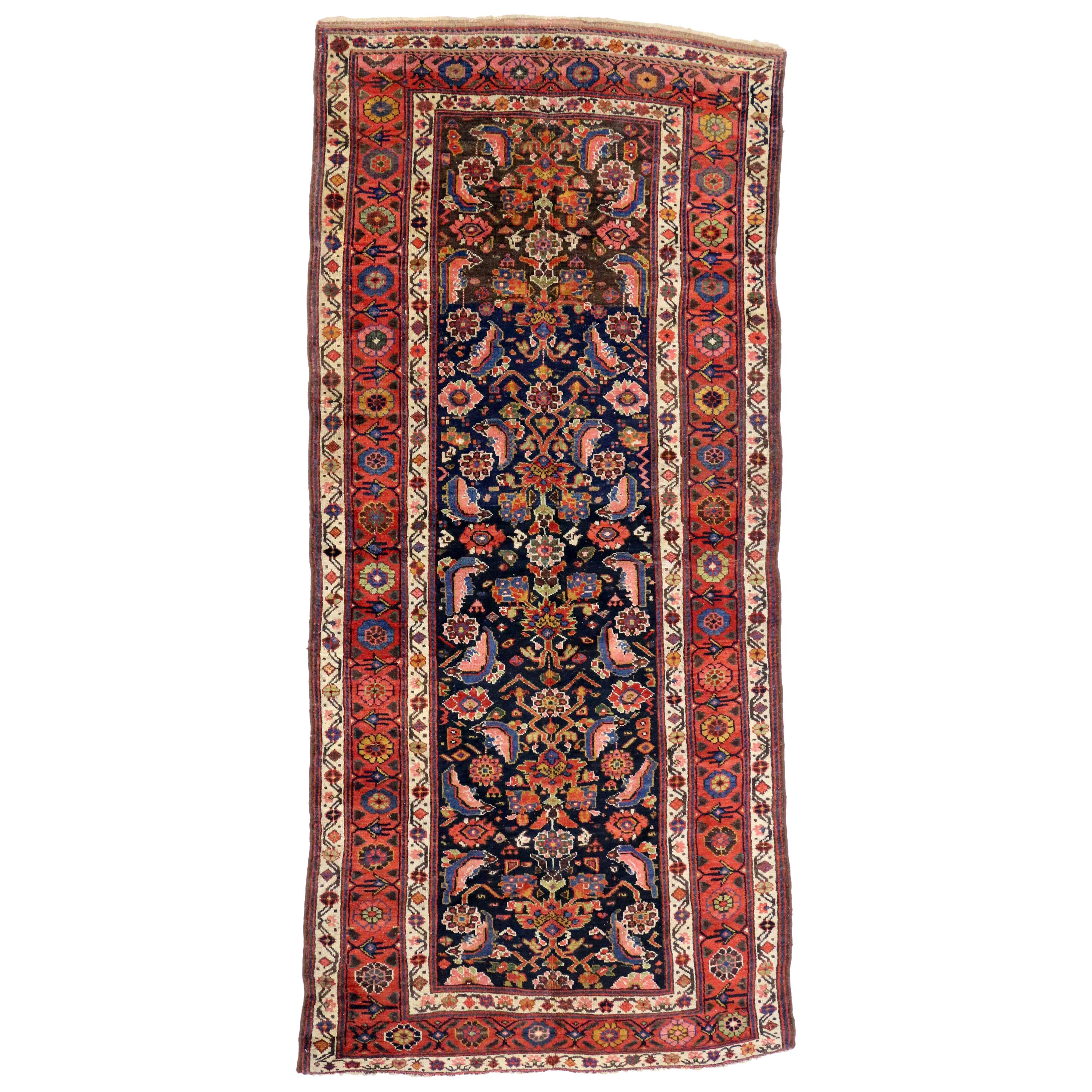 Wide Hallway Antique Tribal Persian Qashqai Runner Rug For Sale at 1stdibs