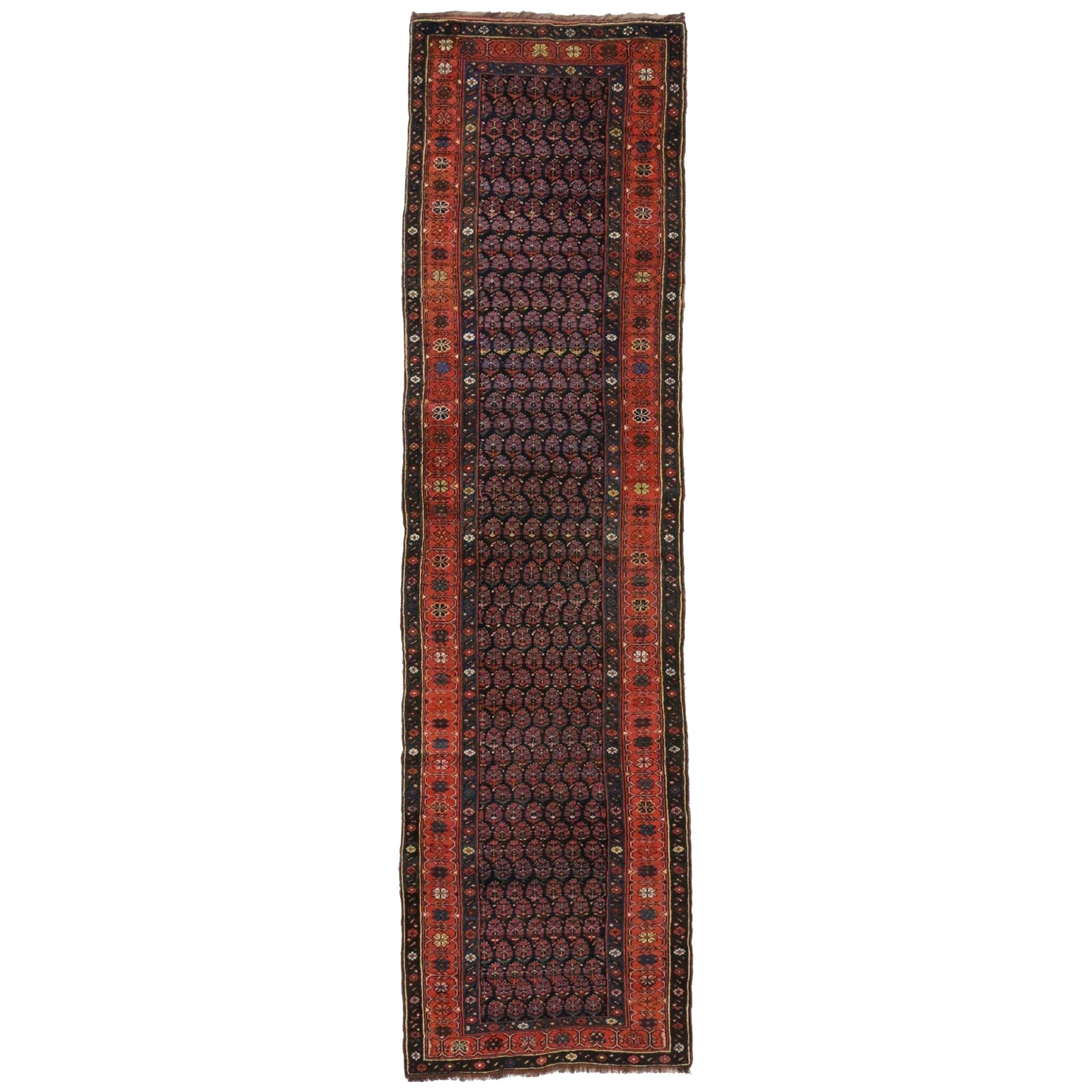 Antique Persian Kurdish Runner with Boteh Design, Hallway Runner