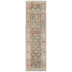 Antique Persian Kurdish Runner with Repeating Geometric in Gray Green, Neutrals