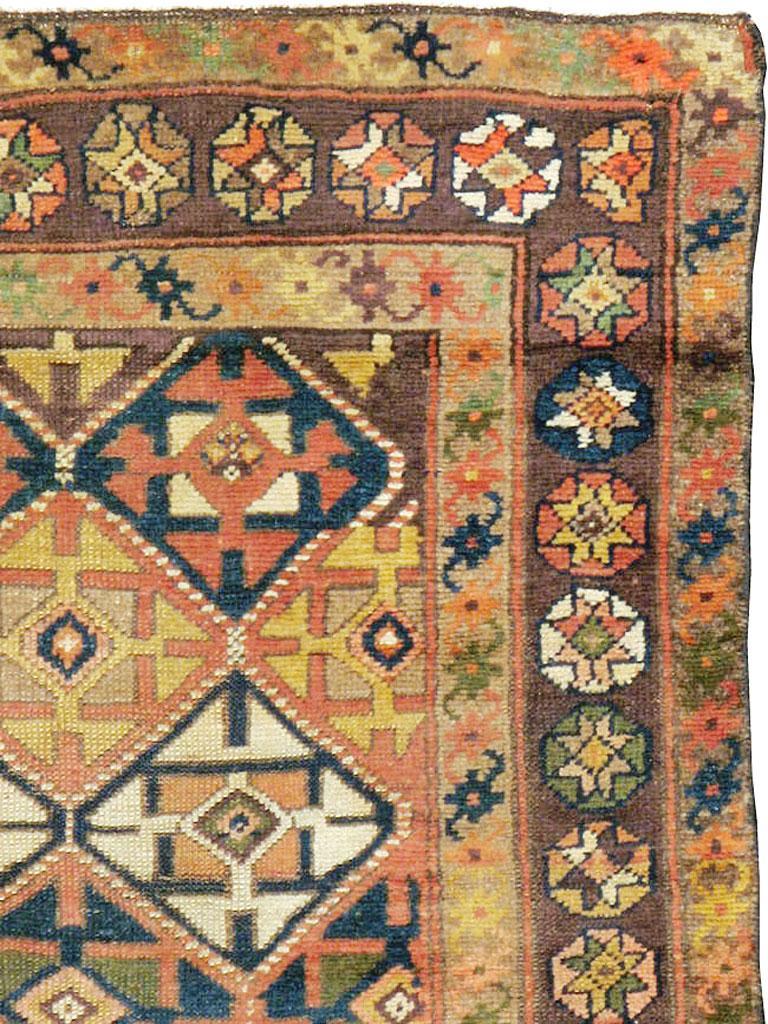 Rustic Antique Persian Kurdish Tribal Rug For Sale
