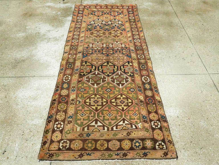 Hand-Knotted Antique Persian Kurdish Tribal Rug For Sale