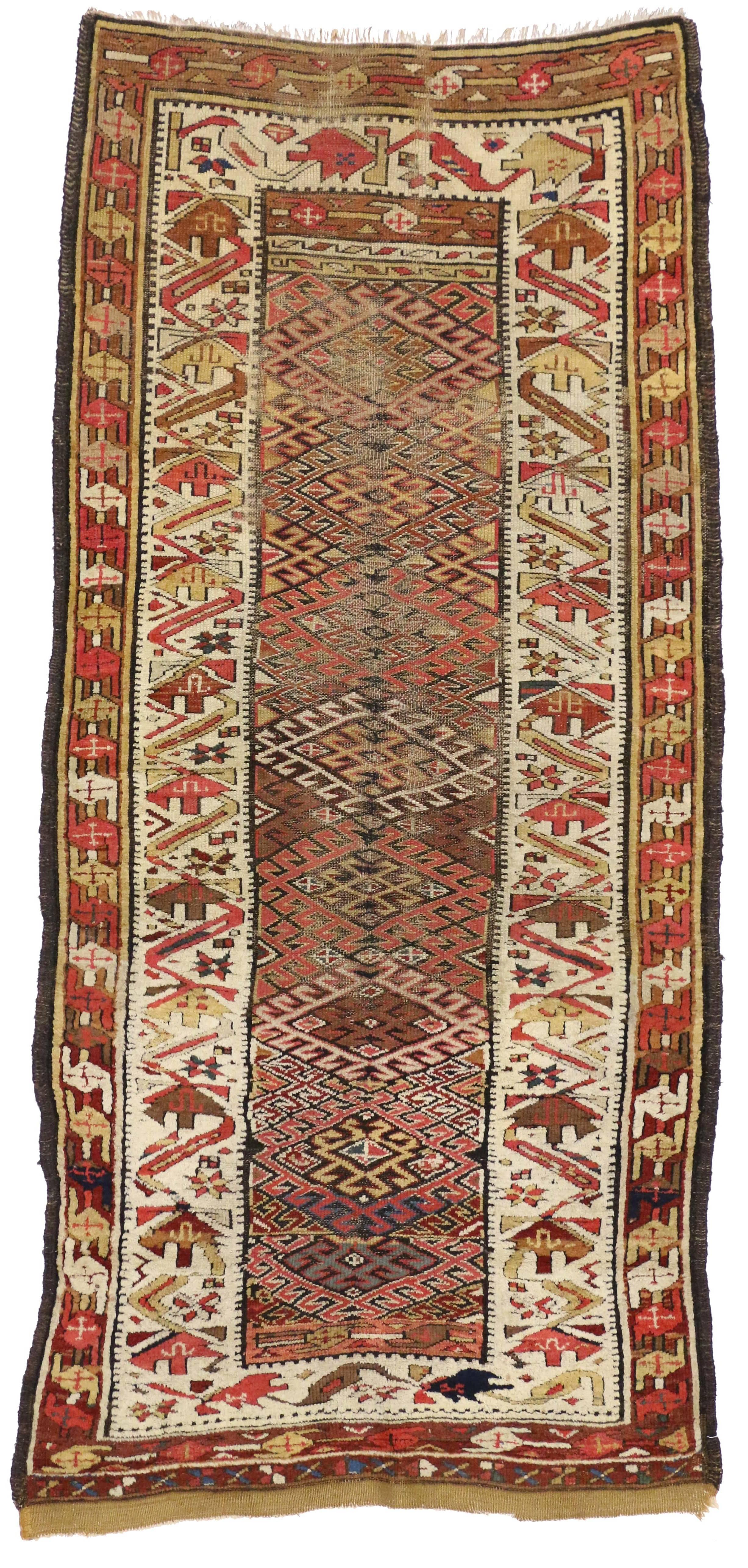 Antique Persian Kurdish Tribal Runner Hallway Runner