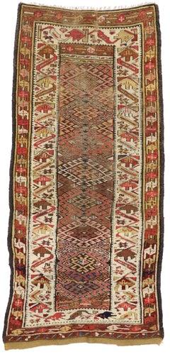 Antique Persian Kurdish Tribal Runner, Hallway Runner