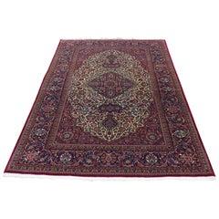 Antique Persian Kurk Wool Kashan 300 KPSI Hand Knotted Oriental Rug
