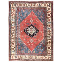 Antique Persian Large Bakshaish Serapi Rug in Brick Red, Royal Blue and Ivory