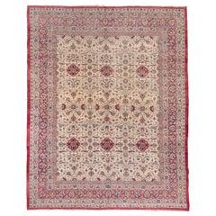 Antique Persian Lavar Kerman Carpet, Ecru All-Over Field, Red Pink Borders