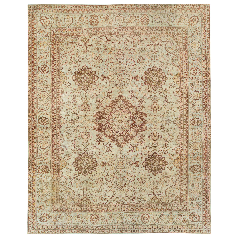 Antique Persian Lavar Kerman Carpet