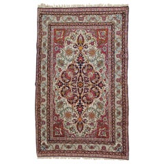 Antique Persian Lavar Kerman, Finely Woven, Wool, Scatter Size, 1915