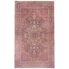 Antique Persian Lavar Kerman Mansion Carpet