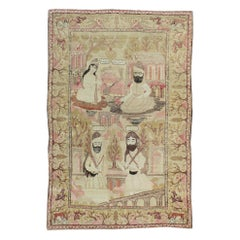 Antique Persian Lavar Kerman Pictorial Rug