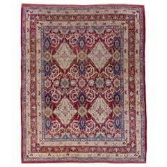 Antique Persian Lavar Kerman Rug, All-Over Field, Red Field, Blue Accents