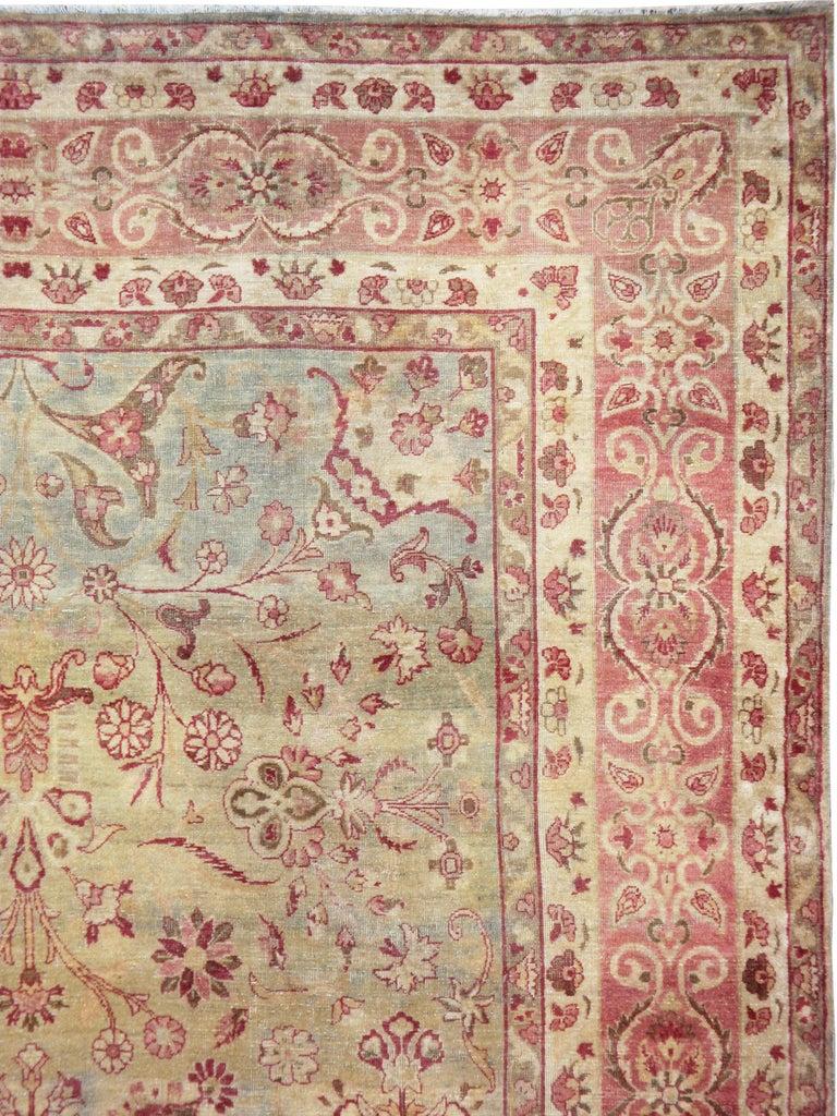 Victorian Antique Persian Lavar Kerman Rug For Sale