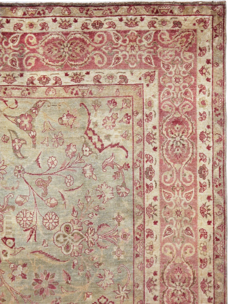 Hand-Knotted Antique Persian Lavar Kerman Rug For Sale
