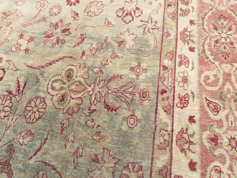 Wool Antique Persian Lavar Kerman Rug For Sale