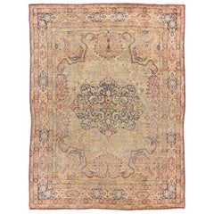 Antique Persian Lavar Kerman Rug with Muted Colors in Hand Knotted Wool