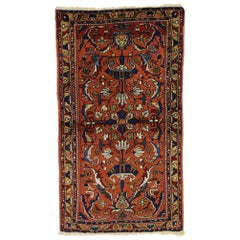 Antique Persian Lilihan Accent Rug with Traditional Style, Entry or Foyer Rug