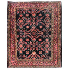 Small Black, Pink and Blue Handmade Persian Rug With Large Scale Classic Pattern