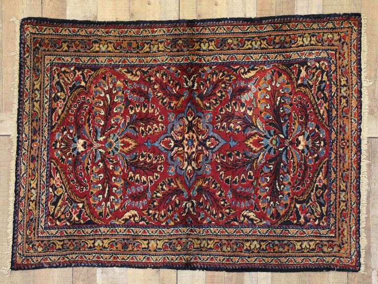 Antique Persian Lilihan Rug With Preppy Jacobean Style For