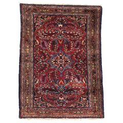 Antique Persian Lilihan Rug with Preppy Jacobean Style