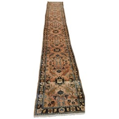 Antique Persian Lilyhan Rug, Rust/Mauve Colored Field, 1915 runner 2-5x16=4