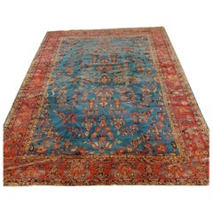 Antique Persian Mahadjeran Sarouk, Floral Design, Blue, Wool, Room Size, 1915