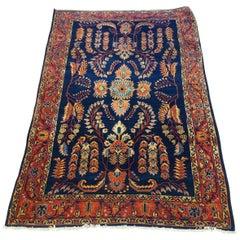 Antique Persian Mahadjeran Sarouk, Floral Design, Navy, Wool, 4x6 size, 1915