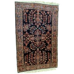 Antique Persian Mahadjeran Sarouk, Floral Design, Navy, Wool, Scatter Size, 1915
