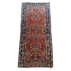 Antique Persian Mahadjeran Sarouk, Floral Design, Rust, Wool, Scatter Size, 1915