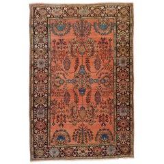 Antique Persian Mahajiran Sarouk Rug, Rust Colored Field, Wool, Scatter