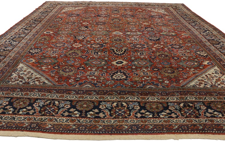 Hand-Knotted Antique Persian Mahal Area Rug with Federal and American Colonial Style For Sale