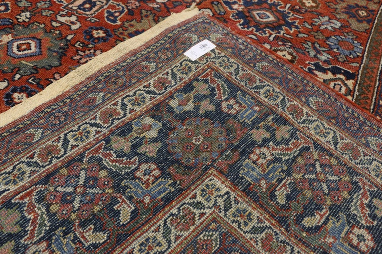 20th Century Antique Persian Mahal Area Rug with Federal and American Colonial Style For Sale