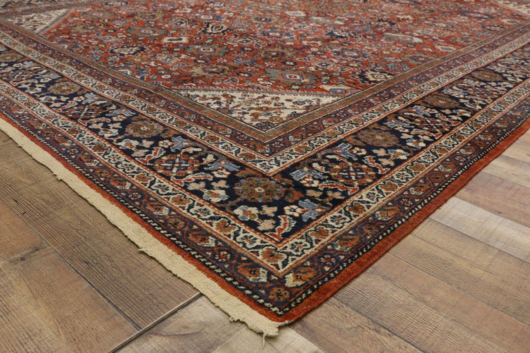 Wool Antique Persian Mahal Area Rug with Federal and American Colonial Style For Sale