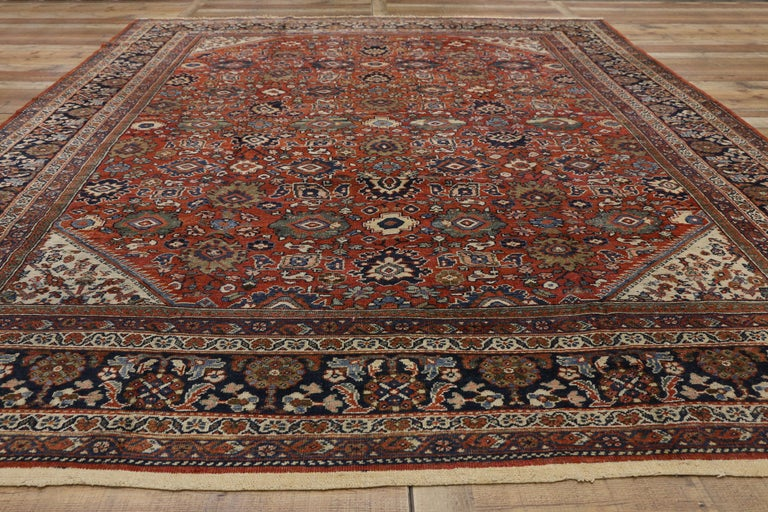 Antique Persian Mahal Area Rug with Federal and American Colonial Style For Sale 1