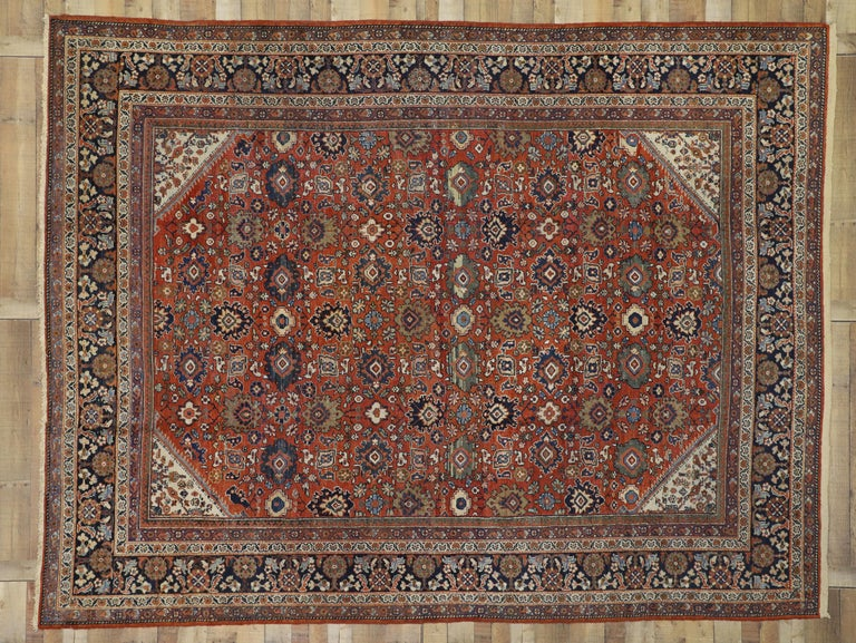 Antique Persian Mahal Area Rug with Federal and American Colonial Style For Sale 2