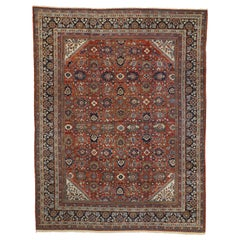 Antique Persian Mahal Area Rug with Federal and American Colonial Style