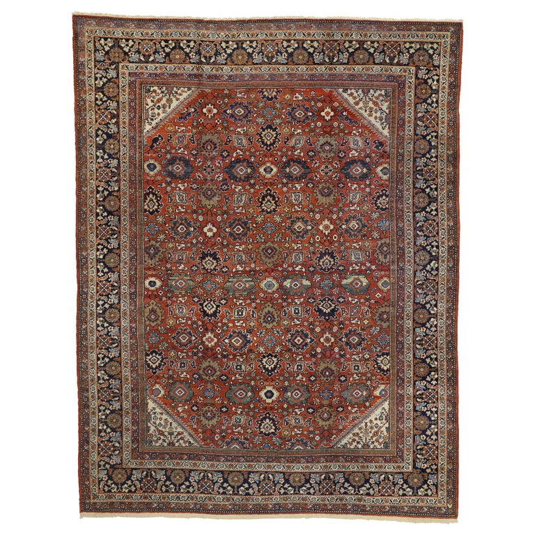 Antique Persian Mahal Area Rug with Federal and American Colonial Style For Sale