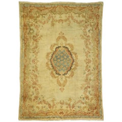 Antique Persian Mahal Area Rug with French Rococo and Louis XV Style
