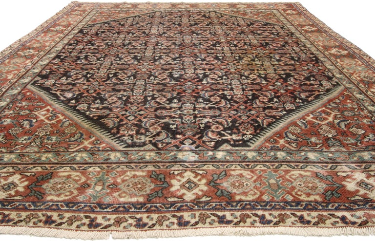 74576, antique Persian Mahal Area rug with Herati design and rustic. This hand knotted wool antique Persian Mahal area rug features an all-over Classic Herati design. The all-over Herati pattern is among the most widespread and well known of all