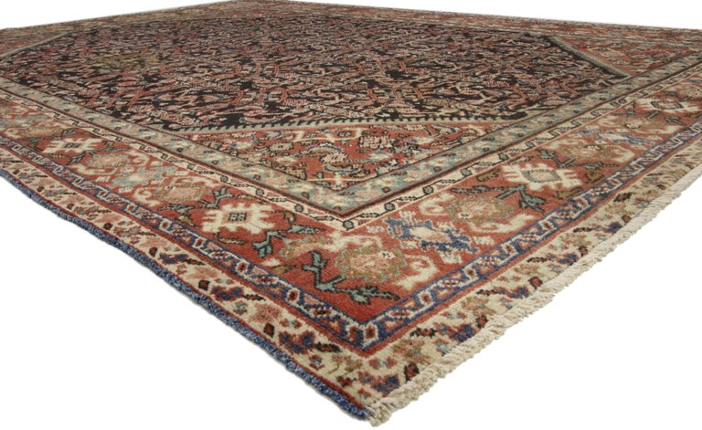 Hand-Knotted Antique Persian Mahal Area Rug with Herati Design and Rustic Style For Sale