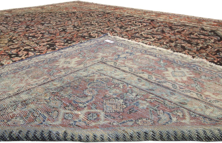Antique Persian Mahal Area Rug with Herati Design and Rustic Style In Good Condition For Sale In Dallas, TX