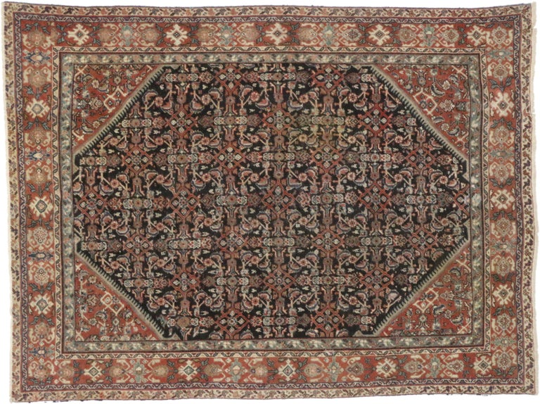 20th Century Antique Persian Mahal Area Rug with Herati Design and Rustic Style For Sale