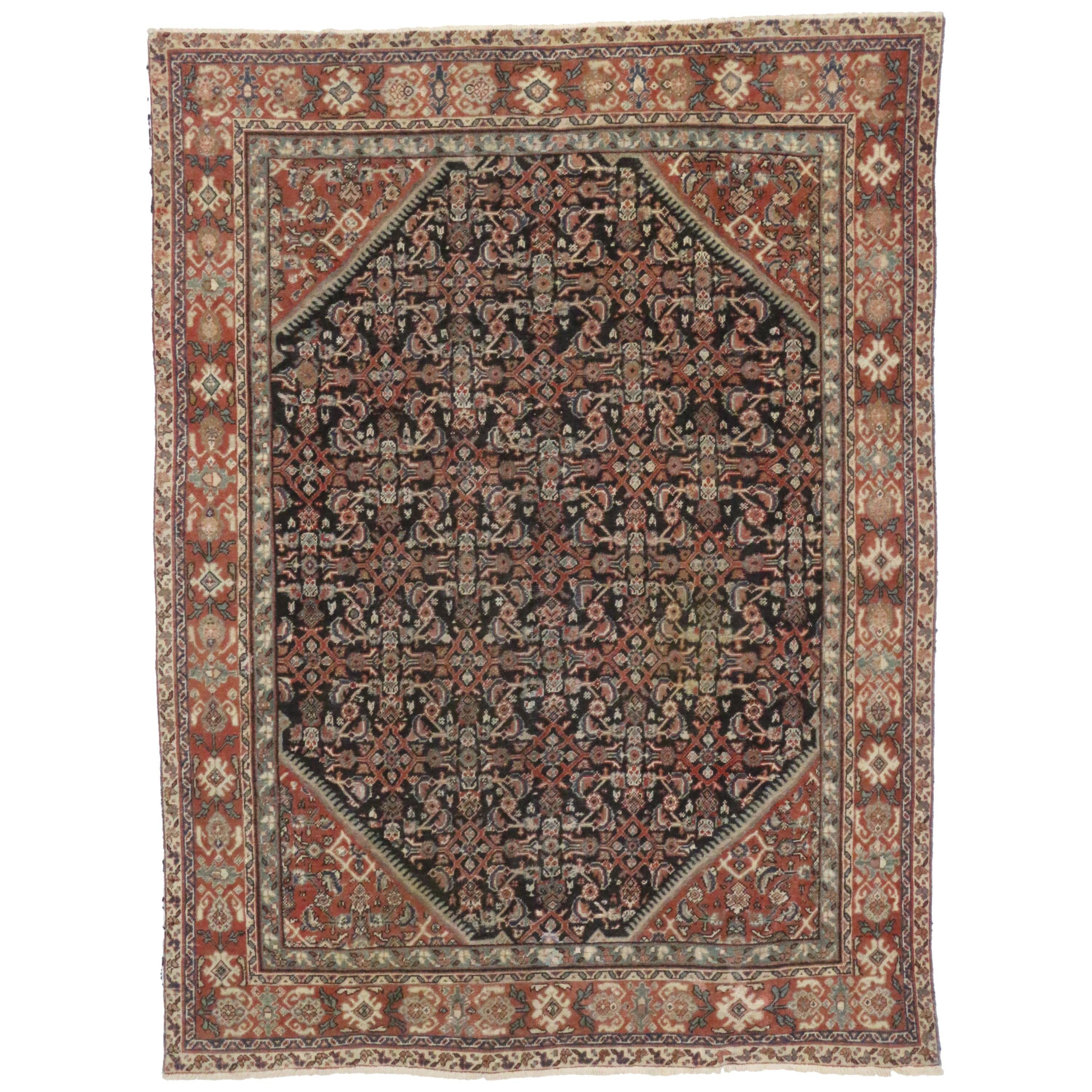 Distressed Antique Persian Mahal Area Rug with Modern Rustic English Style