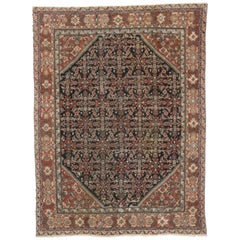Antique Persian Mahal Area Rug with Herati Design and Rustic Style