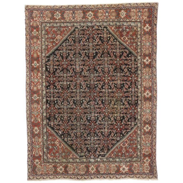 Antique Persian Mahal Area Rug with Herati Design and Rustic Style For Sale
