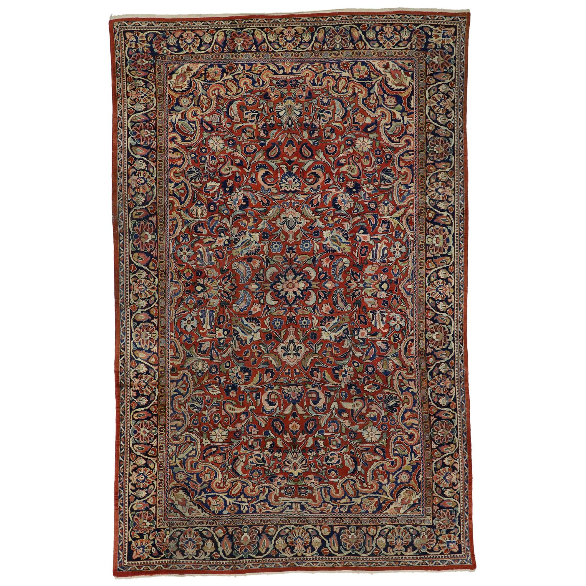 Antique Persian Mahal Area Rug with Modern Federal Style