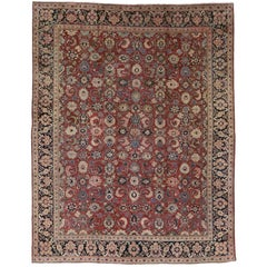 Vintage Persian Mahal Area Rug with Traditional Style