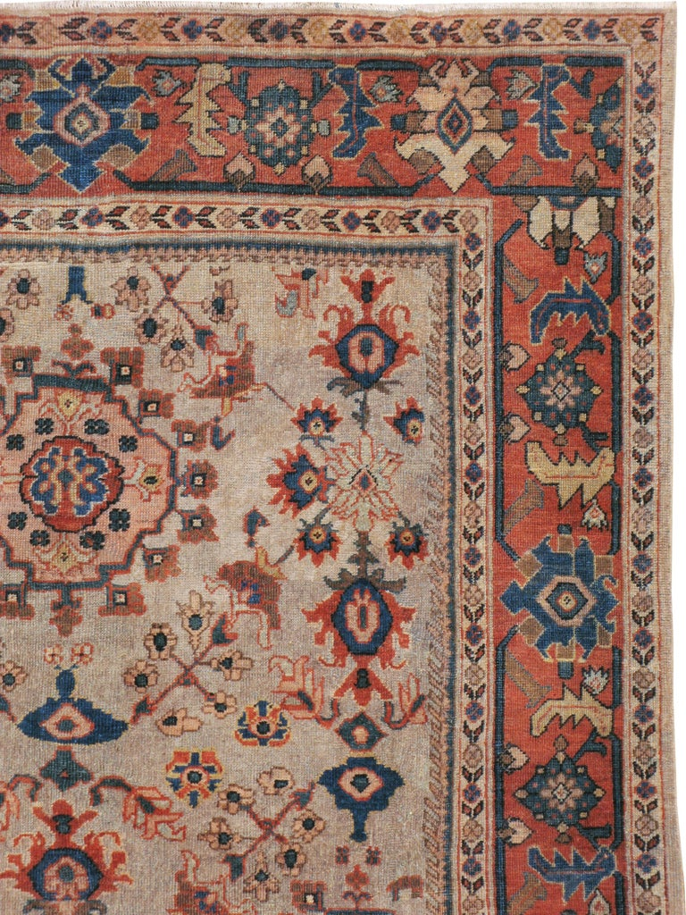 Rustic Antique Persian Mahal Carpet For Sale